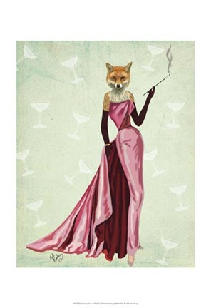 Framed Glamour Fox in Pink Print