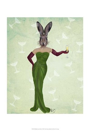 Framed Rabbit Green Dress Print