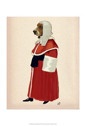 Framed Basset Hound Judge Full II Print