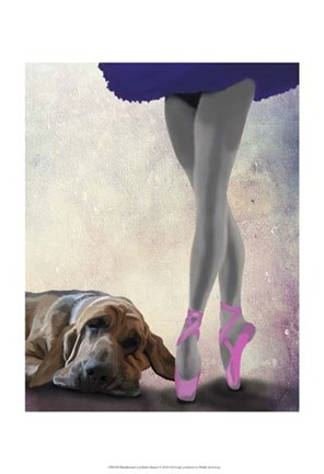 Framed Bloodhound And Ballet Dancer Print