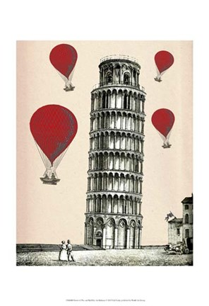 Framed Tower of Pisa and Red Hot Air Balloons Print