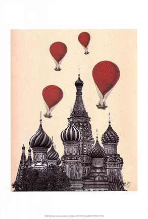 Framed St Basil's Cathedral and Red Hot Air Balloons Print