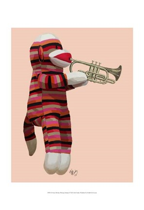 Framed Sock Monkey Playing Trumpet Print