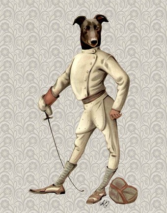 Framed Greyhound Fencer in Cream Full Print