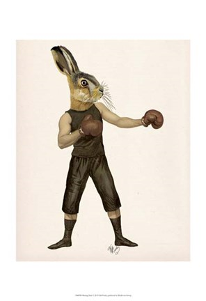 Framed Boxing Hare Print