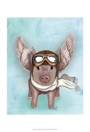 Framed Aviator Piggy II Print