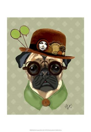 Framed Pug With Steampunk Bowler Hat Print