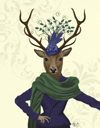 Framed Deer and Fascinator Print