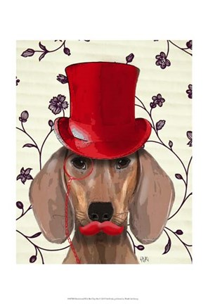 Framed Dachshund With Red Top Hat Print