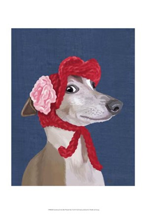 Framed Greyhound with Red Woolly Hat Print