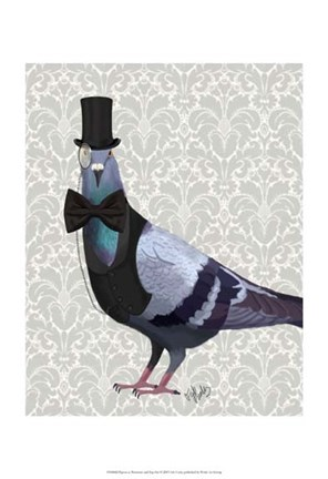 Framed Pigeon in Waistcoat and Top Hat Print