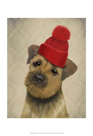 Framed Border Terrier with Red Bobble Hat Print