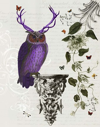 Framed Purple Owl With Antlers Print
