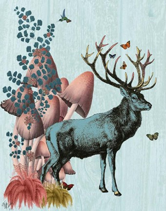 Framed Turquoise Deer in Mushroom Forest Print