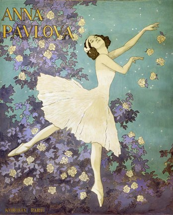Framed Design for a Poster of Anna Pavlova Gouache Print