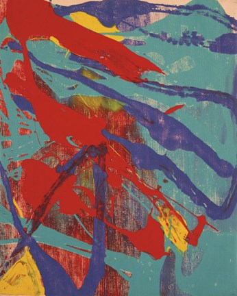Framed Abstract Painting, c. 1982 (aqua, red, indigo, yellow) Print