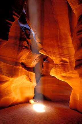 Framed Sun Shining Beam of Light onto Canyon Floor, Upper Antelope Canyon Print