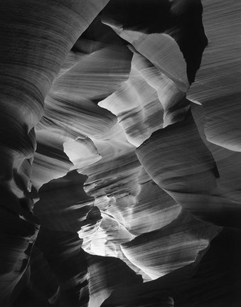 Framed Red Sandstone Walls, Lower Antelope Canyon (Black & White) Print