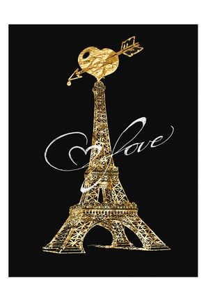 Framed Parisian Golden Love Print