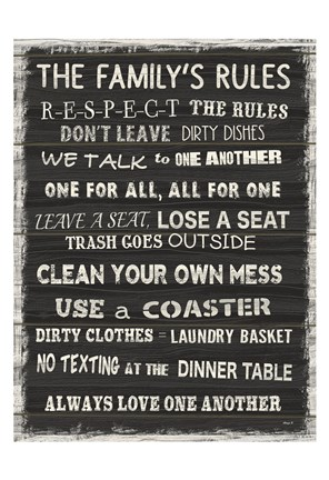 Framed Family Rules 5 Print