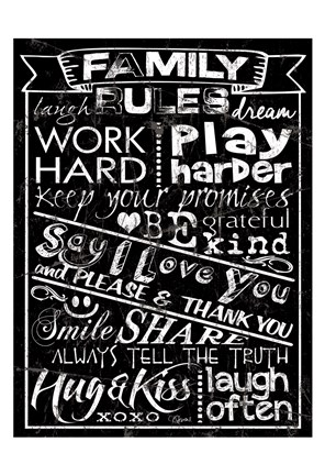 Framed Family Rules Chalkboard Print