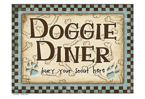 Framed Doggie Diner Blue Print