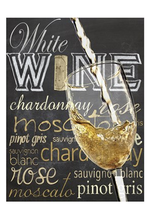 Framed Wine Glass White Print