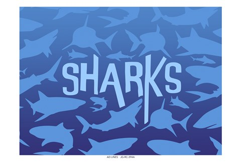 Framed Sharks Print