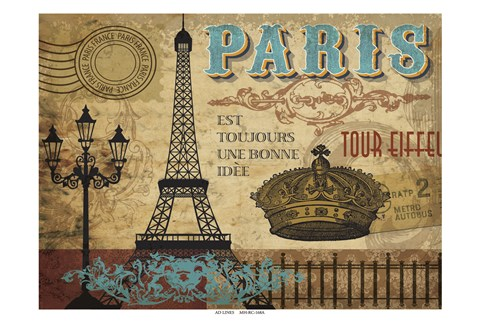 Framed Paris Series Eiffel Print