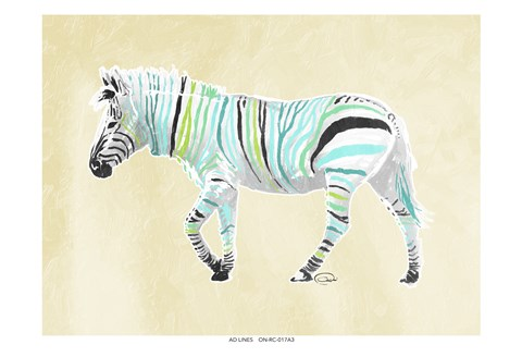 Framed Zebra Teal Greens Print