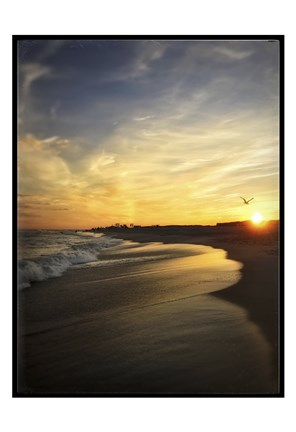 Framed Seagull Flying Into Beach Sunset Print