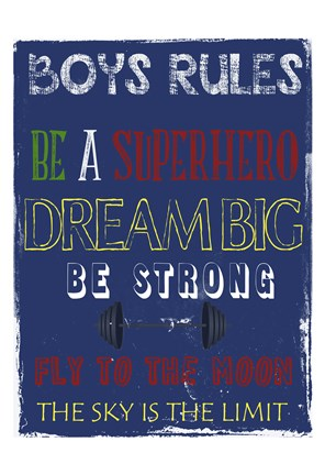 Framed Boys Rules 1 Print