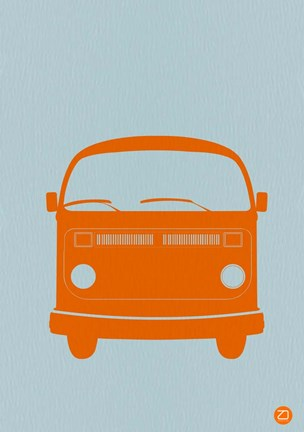 Framed Orange VW Bus Print