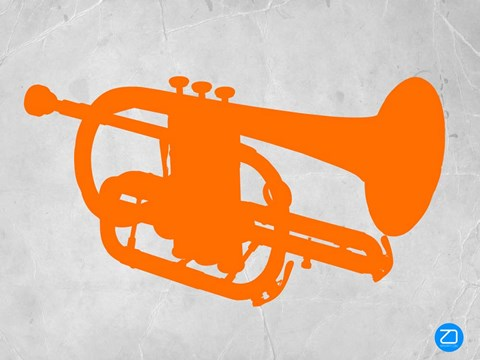 Framed Orange Tuba Print