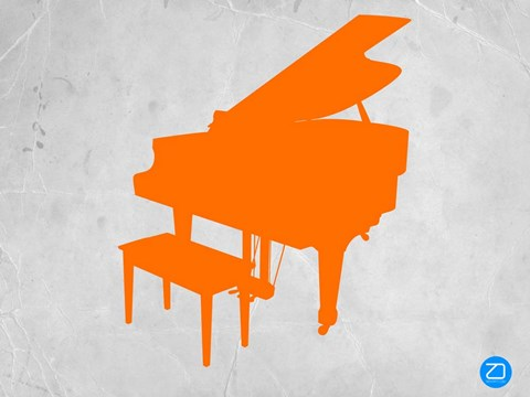 Framed Orange Piano Print