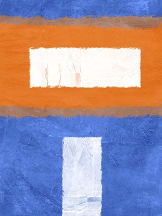Framed Blue and Orange Abstract Theme 2 Print