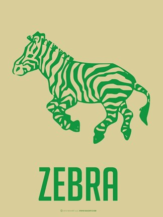 Framed Zebra Green Print