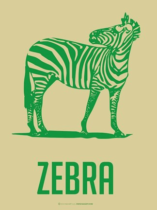 Framed Zebra Green 2 Print