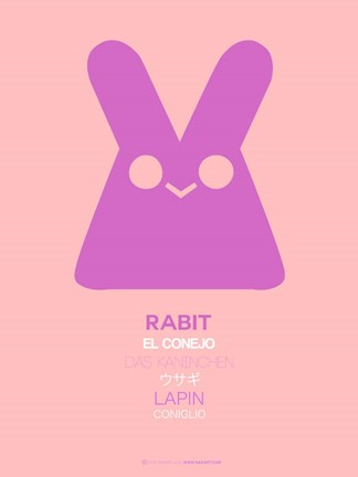 Framed Pink Rabbit Multilingual Print