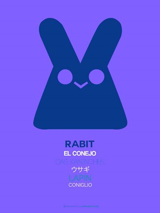 Framed Purple Rabbit Multilingual Print