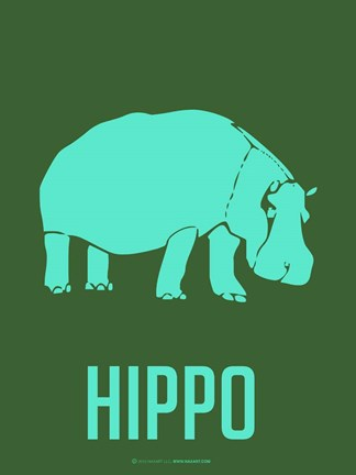 Framed Hippo Blue Print