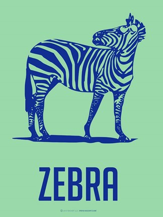 Framed Zebra Blue and Green Print