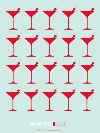Framed Martini Lover Red Print