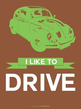 Framed I Like to Drive Beetle 2 Print
