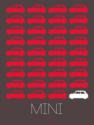 Framed Red Mini Cooper Print