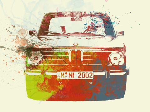 Framed BMW 2002 Front Watercolor 2 Print