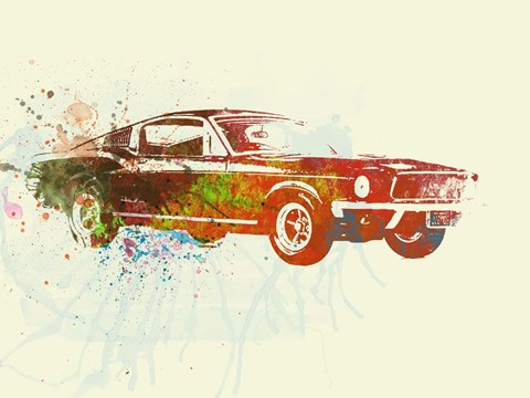 Framed Ford Mustang Watercolor Print