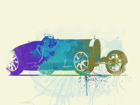 Framed Bugatti Type 35 R Watercolor Print