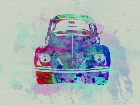 Framed VW Beetle Watercolor 2 Print