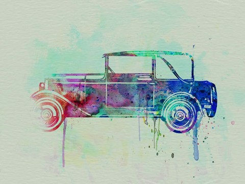 Framed Old car watercolor Print